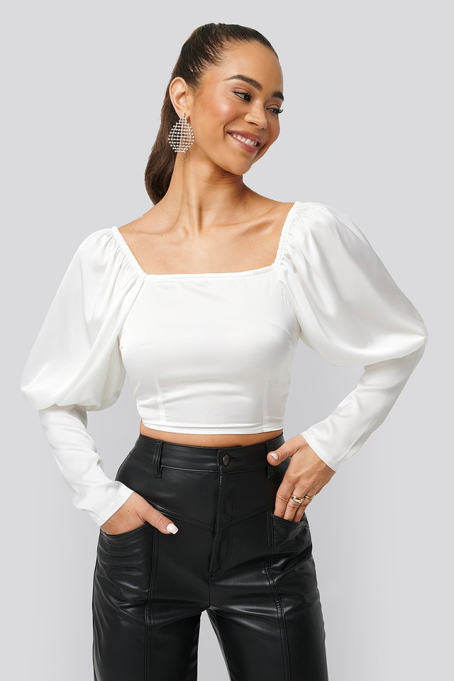 Cropped Puff Sleeve Satin Blouse White