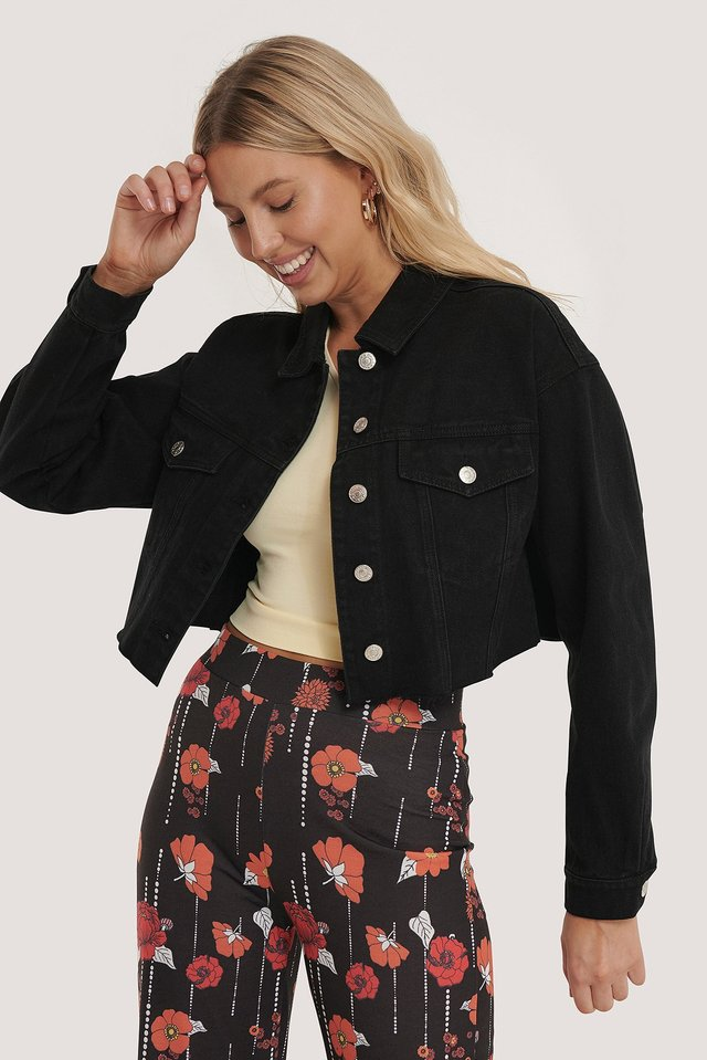 Cropped Raw Hem Denim Jacket Black