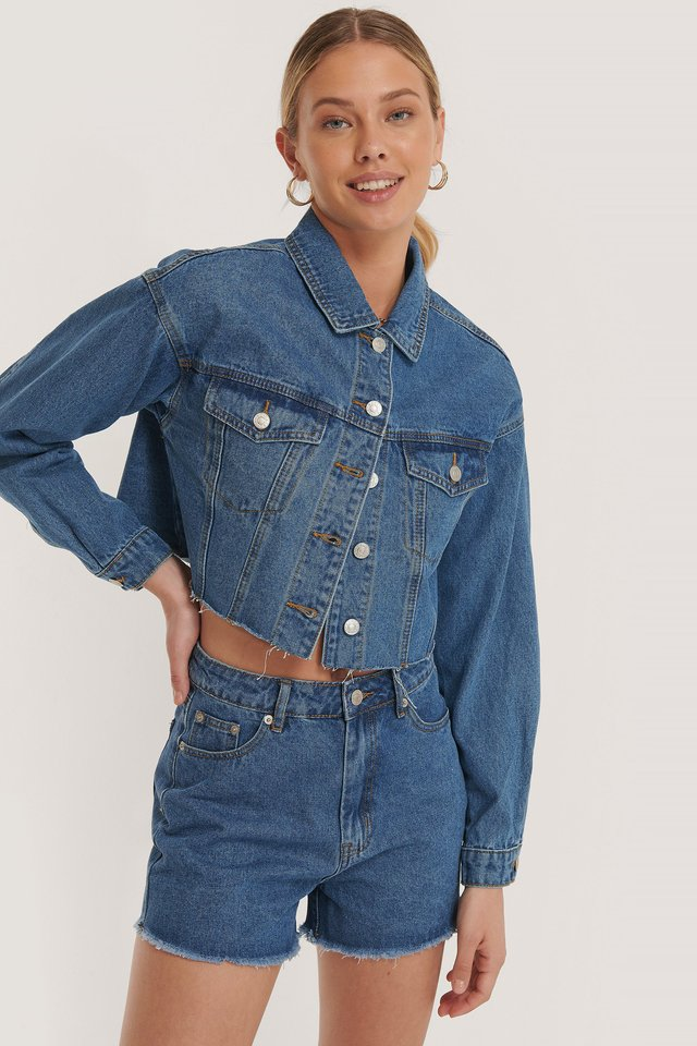 Cropped Raw Hem Denim Jacket Mid Blue