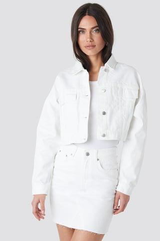 White Cropped Regular Hem Denim jacket