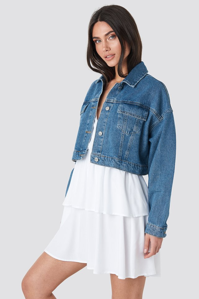 Cropped Regular Hem Denim jacket Mid Blue