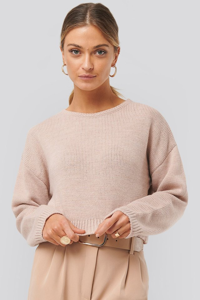 Dusty Pink Cropped Round Neck Knitted Sweater