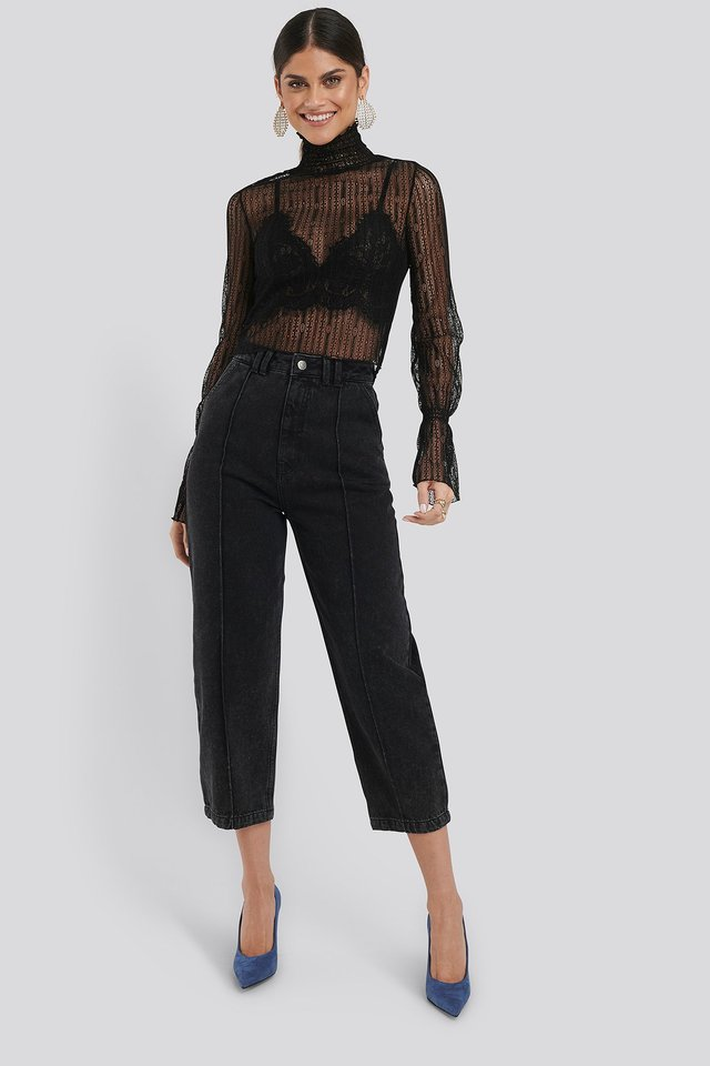 Cropped Slouchy Jeans Black