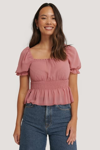Dark Dusty Pink Cropped Smock Top