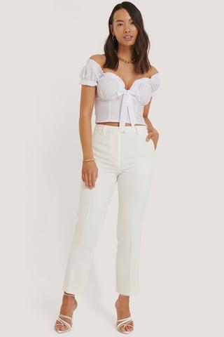 White Croppade Kostymbyxor