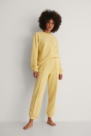 Yellow Organic Cropped Sweatpants