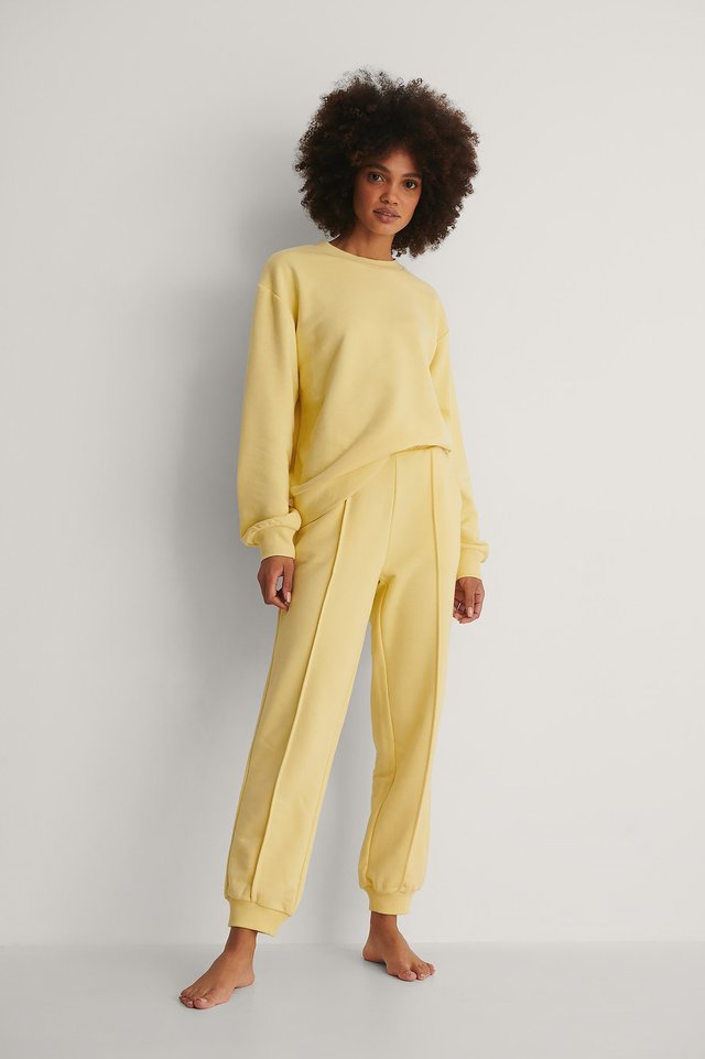 Yellow Organic Cropped Sweatpants