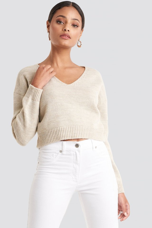 Cropped V-neck Knitted Sweater Beige