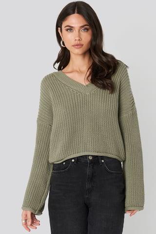 Light Khaki Cropped V-neck Knitted Sweater