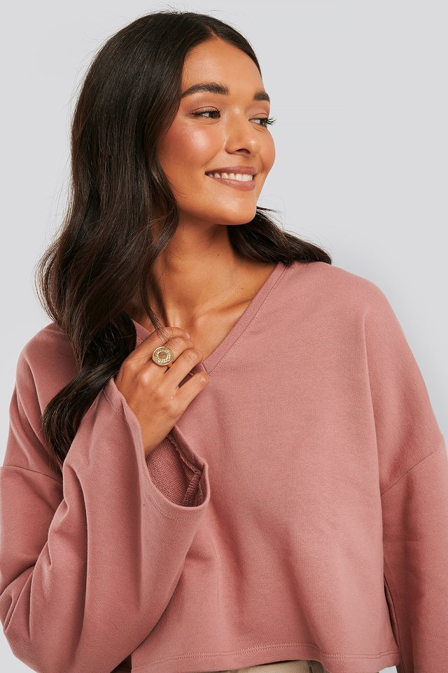 Cropped V Neck Oversized Sweater Whiskey Rose