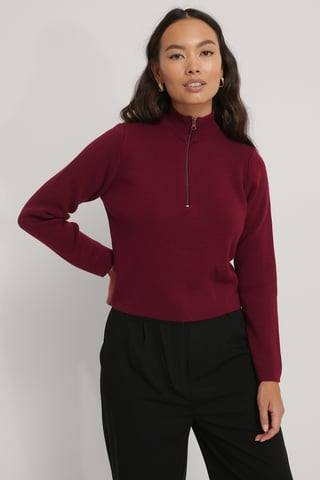 Burgundy Cropped Zip Detail Knitted Sweater
