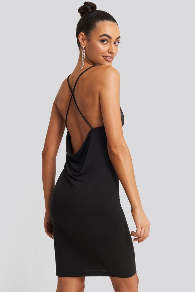 Cross Back Cowl Neck Dress Black