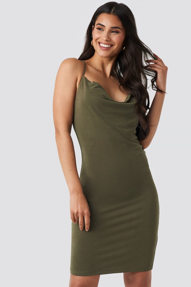 Cross Back Cowl Neck Dress Khaki Green