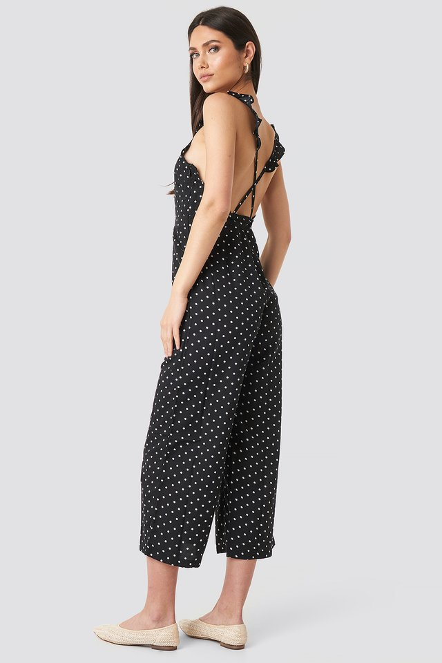 Cross Back Jumpsuit Black/White dots