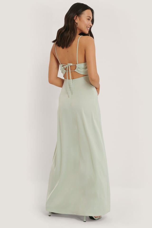 Cross Back Satin Dress Mint