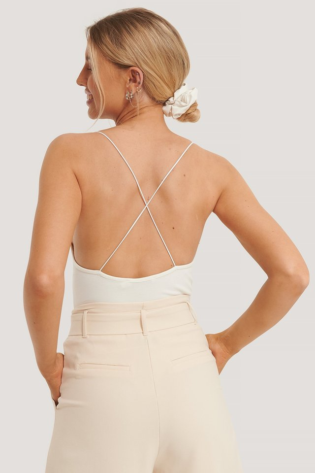 White Cross Back Spaghetti Strap Body