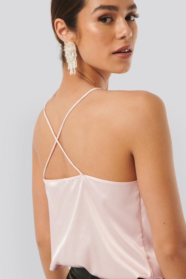 Cross Back Straight Neckline Singlet Pink