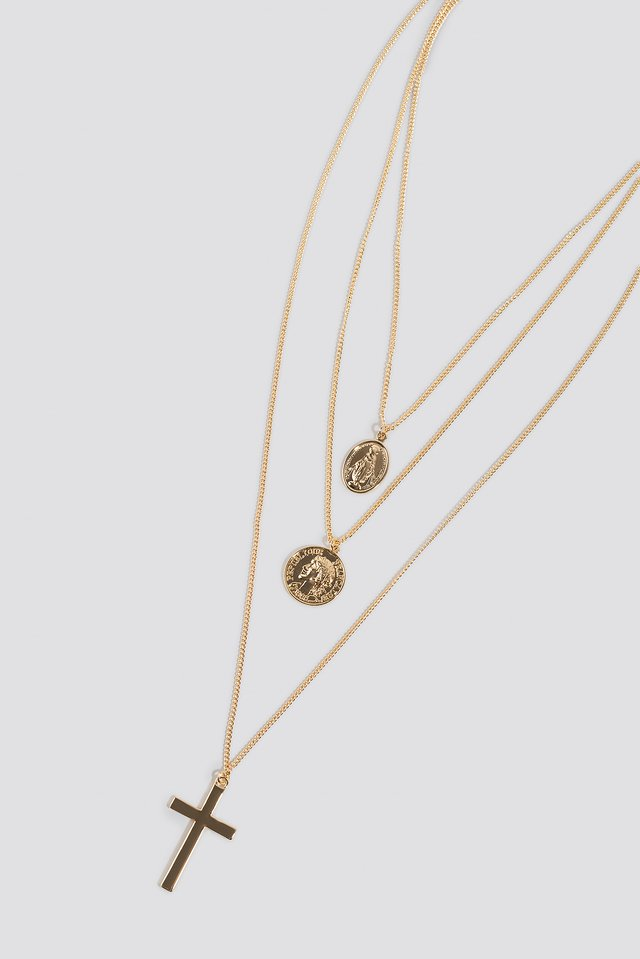 Cross Coin Triple Necklace Gold