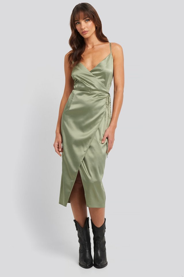 Cross Back Wrap Midi Dress Green