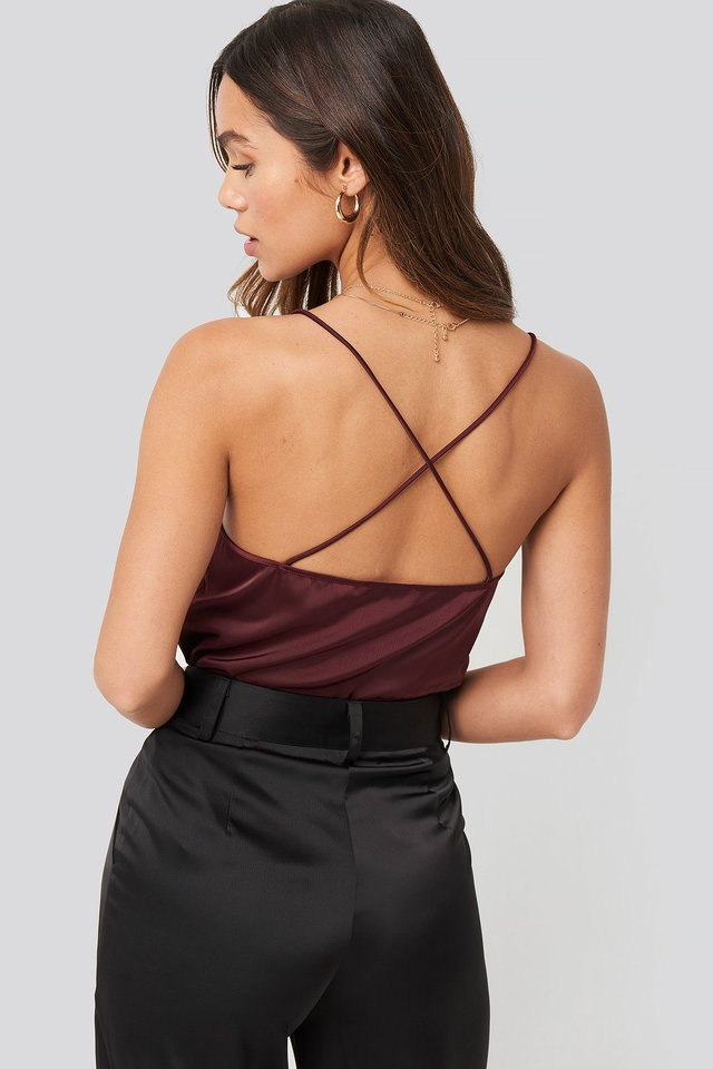 Crossed Back Satin Singlet Burgundy