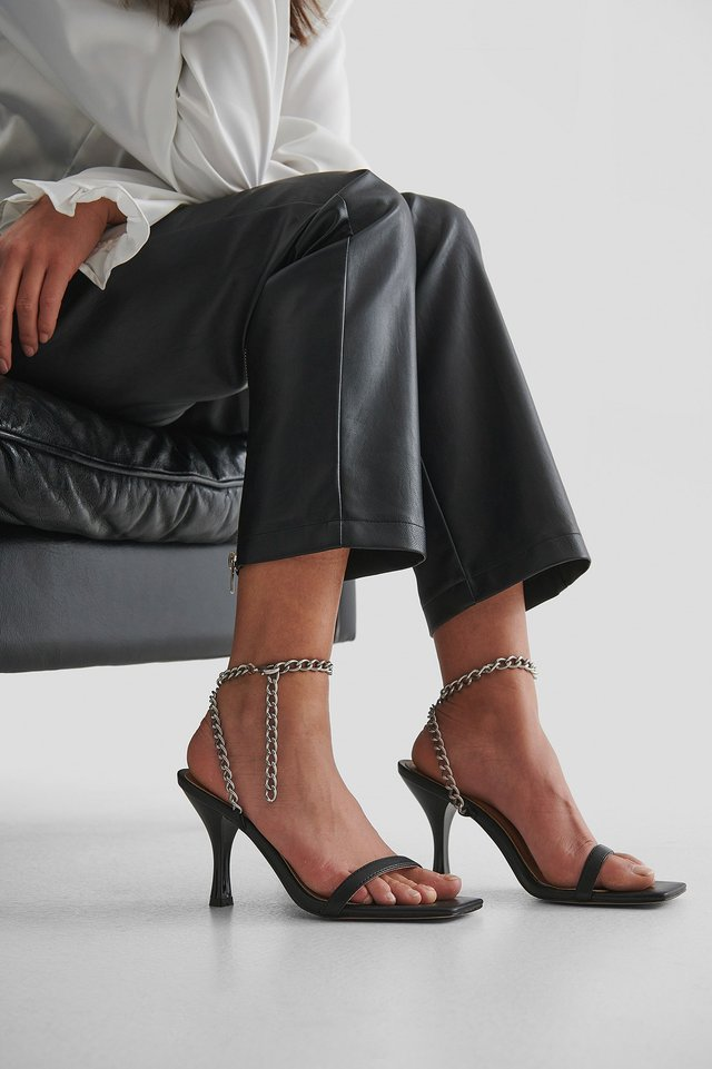Black Crossed Chain Heels