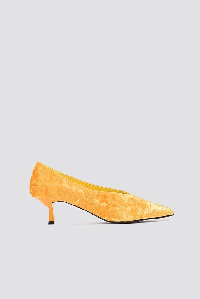 Crushed Velvet Kitten Heel Orange