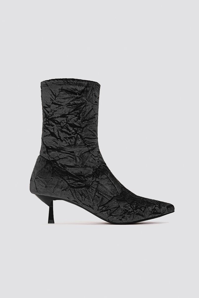 Black Crushed Velvet Sock Boot
