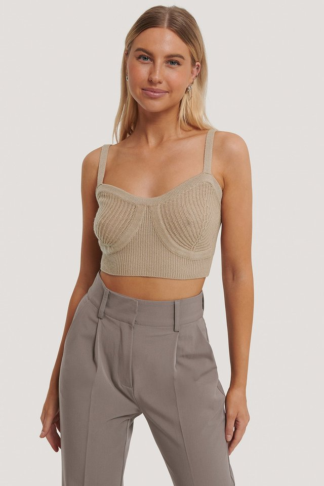 Beige Cup Detail Cropped Knit Top
