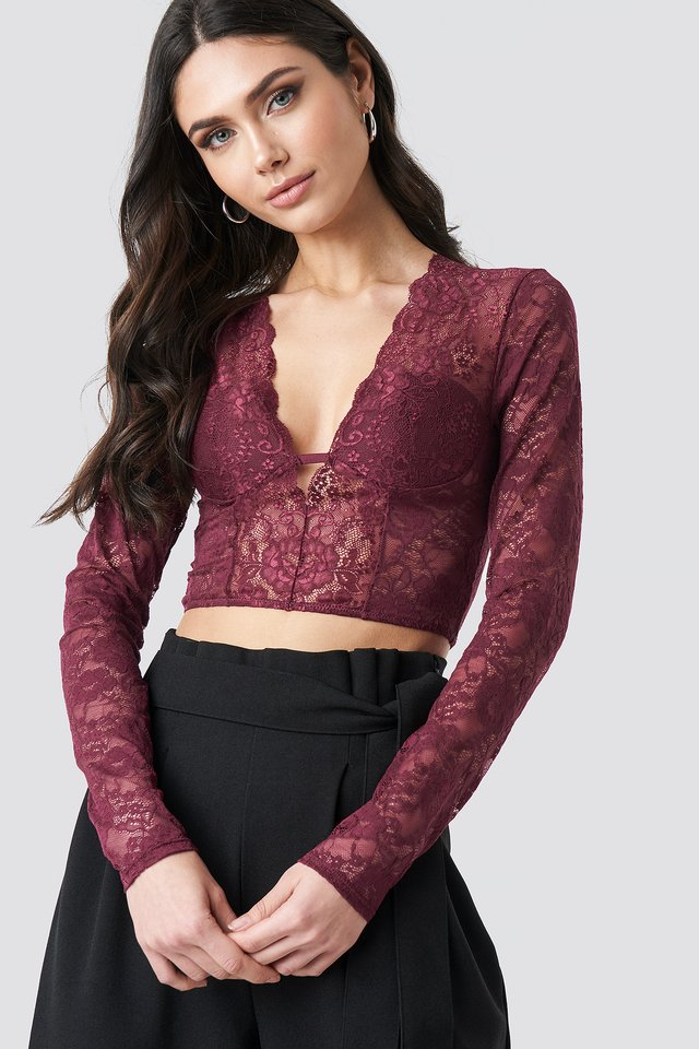 Cup Detail Lace Top Dark Burgundy