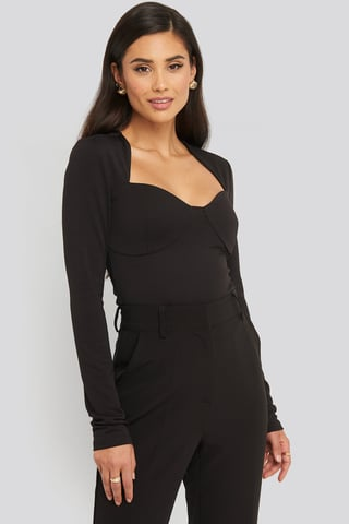 Black Cup Detail Shaped Neckline Top