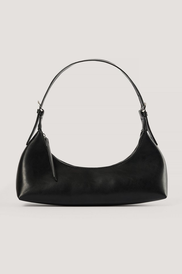 Black Curved Baguette Bag