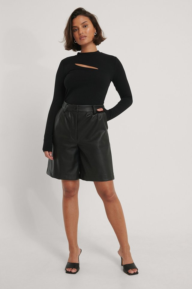 Black Recycled Cut Out Chest Top