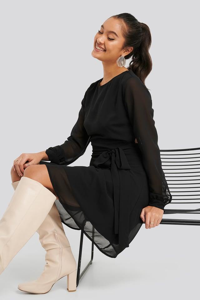 Cut Out Back Chiffon Mini Dress Black