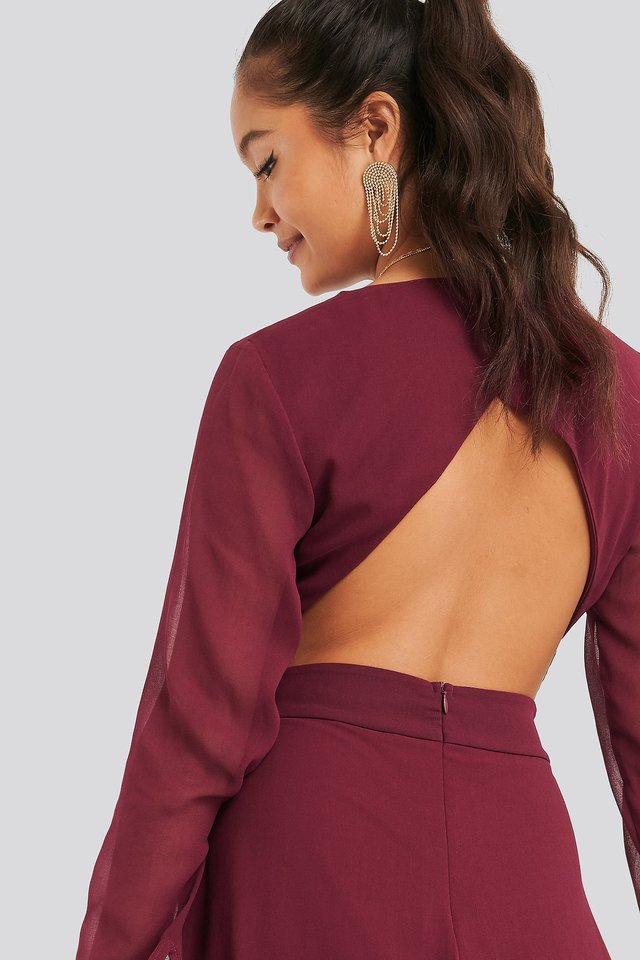 Cut Out Back Chiffon Mini Dress Burgundy