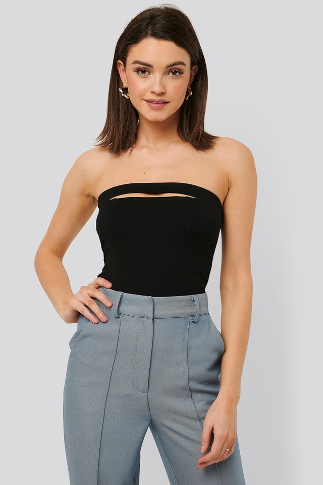 Cut Out Bandeau Top Black