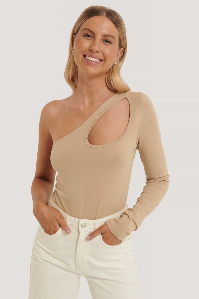 Beige Cut Out Bodysuit