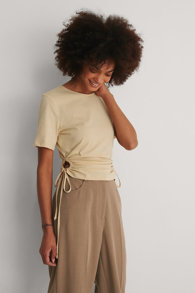 Beige Organic Cut Out Cropped T-shirt