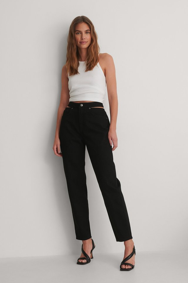 Black Organic Cut Out Denim