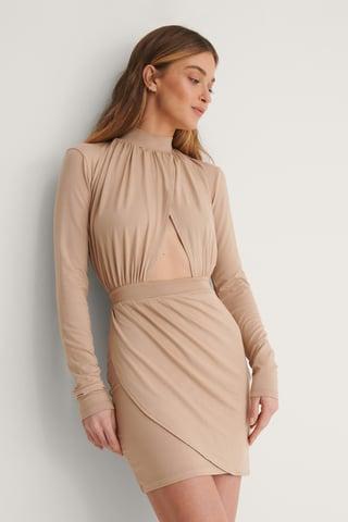 Beige Cut Out Draped Jersey Dress