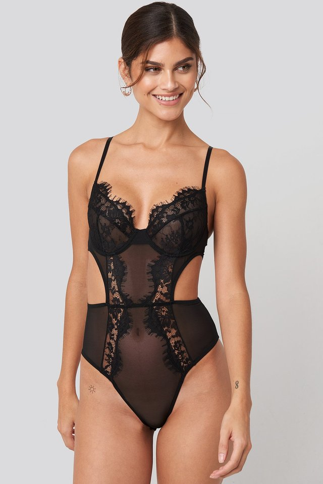 Cut out Lace Bodysuit Black