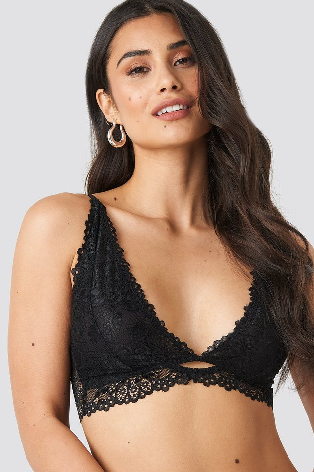Cut Out Lace Bralette Black