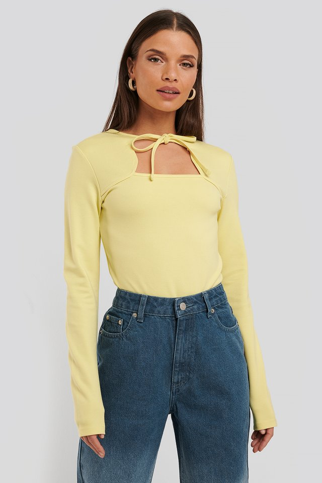 Cut Out Long Sleeve Body Yellow