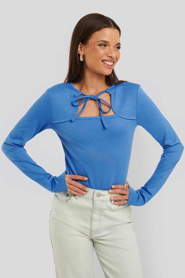 Cut Out Long Sleeve Body Strong Blue