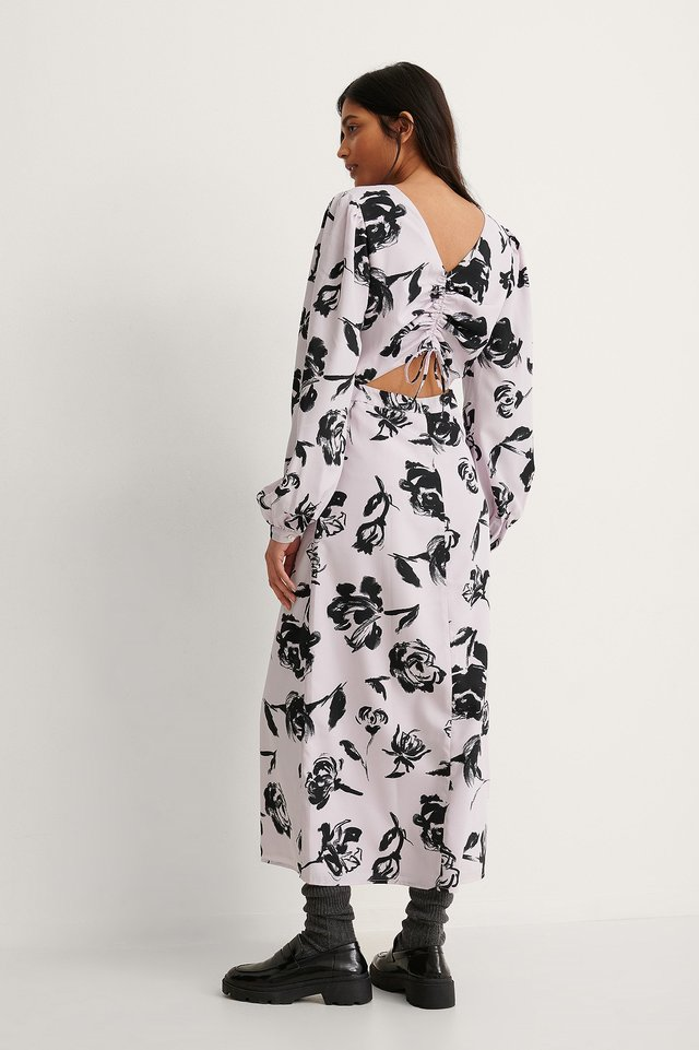 Black/Pink Flower Print Cut Out Long Sleeve Midi Dress