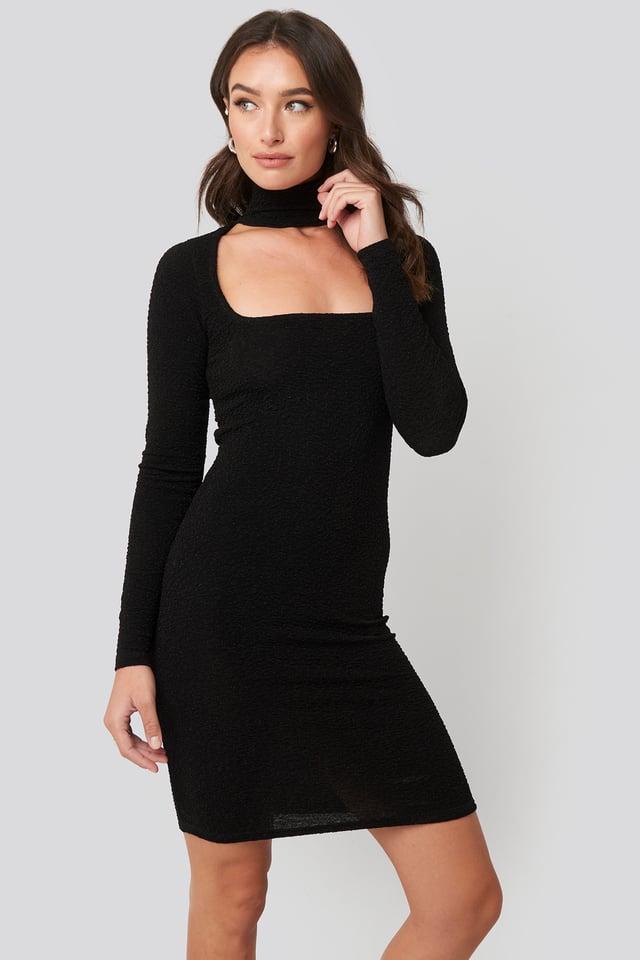 Cut Out Lurex Mini Dress Black