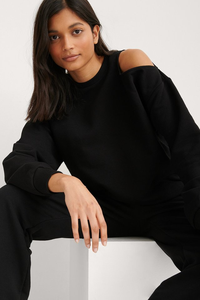 Black Organic Cut Out Neck Detail Sweatshirt