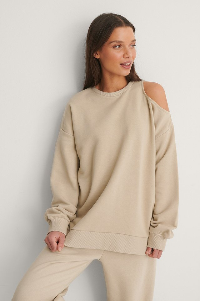 Beige Organic Cut Out Neck Detail Sweatshirt
