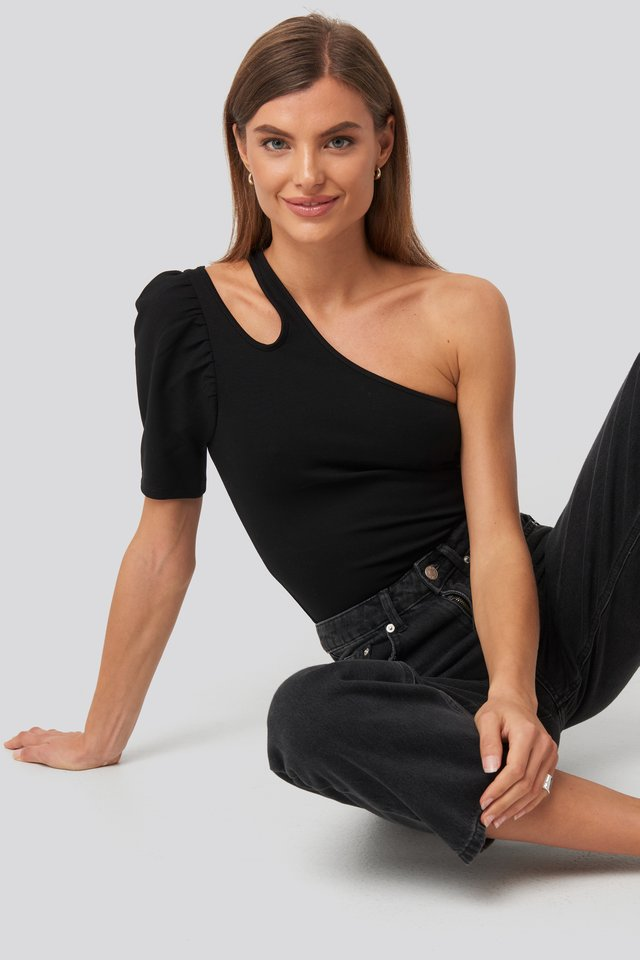 Cut Out One Shoulder Top Black