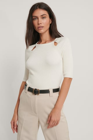 White Cut Out Ribbed Knitted Top