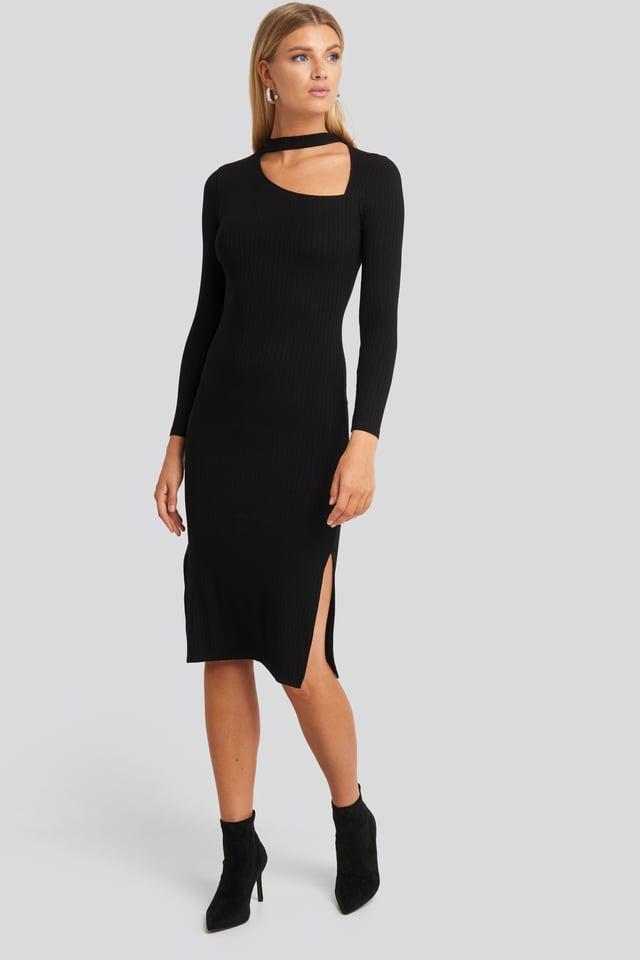 Cut Out Ribbed Midi Dress Black
